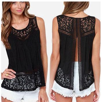 Windreama Plus Size S - 5XL Fashion Women Lace Tank Top Casual Sleeveless Hollow Out Back Open Tops Women Summer Style Tees