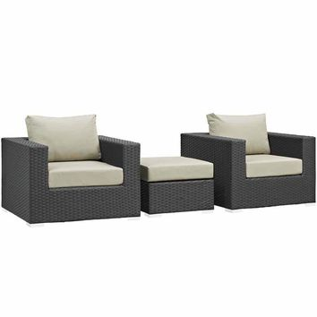Modway Furniture Canvas Beige Sojourn Patio Sunbrella Sectional Set