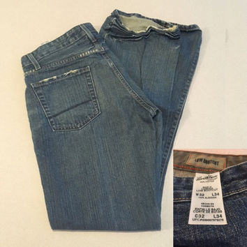 Vintage Men's Signature Levis, Low Bootcut Jeans 32 x 34, Tall Men's Levis, 100% Cotton Made in Cambodia, with Creasing & Distressed Hems