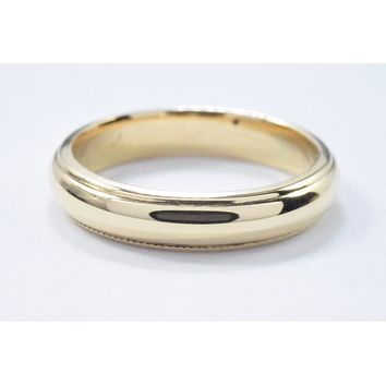 14k Solid Yellow Gold 4.0 mm Wide Art Carved Wedding Band