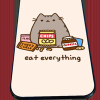 Pusheen The Cat Eat Every Thing for iPhone 4/4s/5/5S/5C/6/6+, Samsung S3/S4/S5 Case *95*