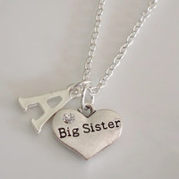 Big Sister Necklace, Initial Necklace, Heart Necklace, Personalized Necklace, Silver necklace, Sister Gift