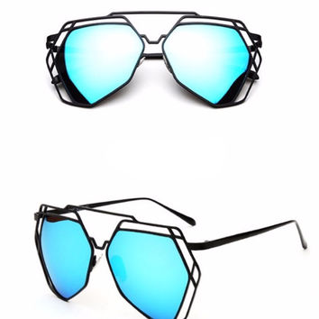 Street Fly Polygonal Mirrored Sunglasses
