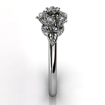 14k white gold diamond flower bouquet unusual unique floral engagement ring, bridal ring, wedding ring ER-1037-1