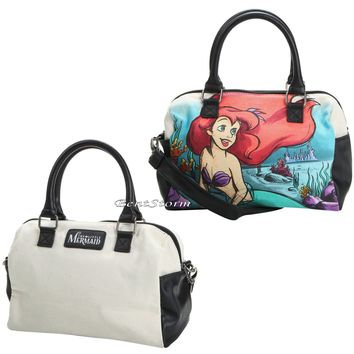 Licensed cool Disney Little Mermaid Ariel Water Color Canvas Barrel Bag Purse Loungefly NEW