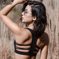 Fabmoor Caged Racerback Sports Bra Medium impact Fitness Yoga bra Strappy caged back Removable padding Pilates Weight trainning