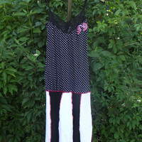 Tank Top T shirt Dress Small Medium Black White Pink Lace Boho Bohemian Upcycled Clothing  Patchwork Hippie Handmade