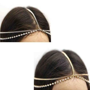 1pc Stunning Beautiful Rhinestone Metal Head Chain Headband Headpiece Hair Band Gift