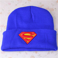Superman Beanie Embroidered Thick Cotton Winter Womens & Mens Blue Cuffed Skully Hat