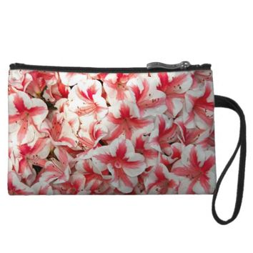 Red and White Azaleas Floral Wristlet Wallet