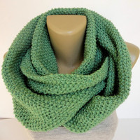 green unisex scarf ,infinity scarf ,knitted scarf , neckwarmer , cowl neck, eternity scarf ,circle scarves