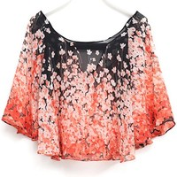 All-Matching Graphic Batwing Chiffon Blouse