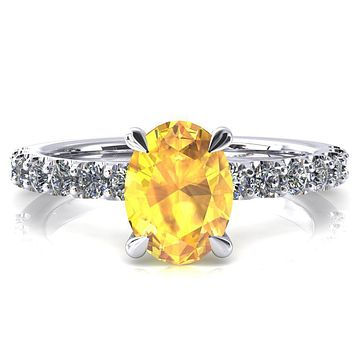 Alessi Oval Yellow Sapphire 4 Claw Prong 3/4 Micro Pave Engagement Ring