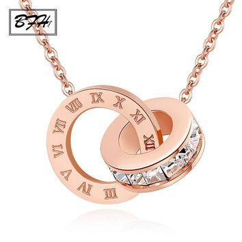 BFH New Fashion Luxury Gold Roman Numeral Necklace Pendants for Women Wedding Party Silver Stainless Steel Necklace Jewelry Gift