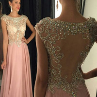 Backless Prom Dresses,A-Line Prom Dresses,Long Evening Dress