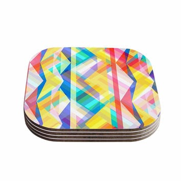 "Miranda Mol ""Triangle Rhythm"" Pastel Geometric Coasters (Set of 4)"