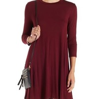 Maroon Trapeze Shift T-Shirt Dress by Charlotte Russe