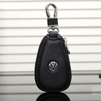 Volkswagen Fashion Leather Zipper Car Key Wallet Case Cover
