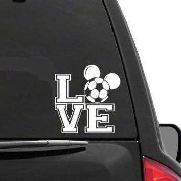 Auto Sticker - Auto Decal MICKEY MOUSE EARS LOVE SOCCER Vinyl Decal Sticker DISNEY for Car Truck SUV Boat Trailer Laptop iPad