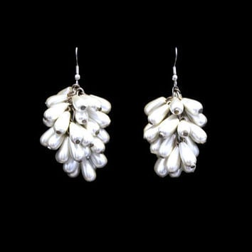 Pearl Cluster Earrings Pearl Tear Drop Earrings Dangle Earrings Drop Earrings Bridal Earrings Wedding Earrings Up Cycle Earrings