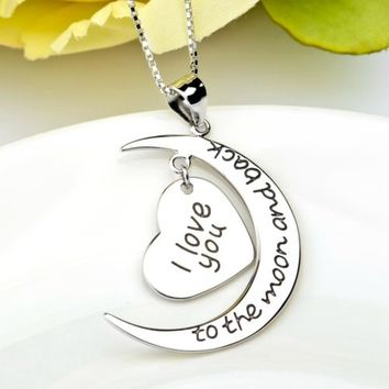 Crescent Heart I Love You to The Moon and Back 925 Silver Love Necklace
