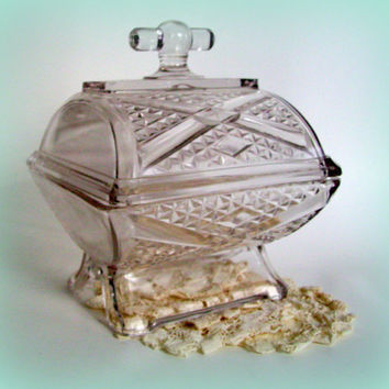 Antique Adams Glass Glass Butter Dish EAPG 1886 Crystal Butter Dish Ashman Pattern Early American Pattern Glass Covered Compote-