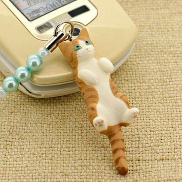 Pet Lovers Rare Hand-Made Cat Beads Cell Phone Jewelry Strap and Charm Vol. 7 (Tabby Light Brown)- 123-N-2702