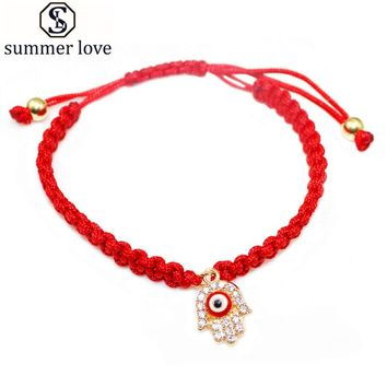 Handmade Braided Rope Bracelets Red Thread Evil Eyes Hamsa Charm Bracelets Bring You Lucky Bracelets Jewelry Adjustable Length