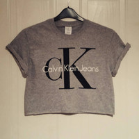 unisex customised CK calvin klein crop top t shirt top grunge festival fashion