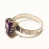 Sterling Silver Amethyst Ring, Victorian Style, Ornate Etching, Gemstone, Emerald Cut
