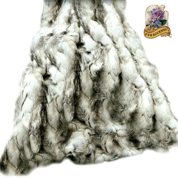 FUR ACCENTS Luxurious Faux Fur Throw Blanket  / White , Black  & Gray Exotic Rabbit