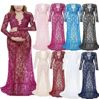 Fashion Maternity Photography Props Maxi Maternity Gown Lace Maternity Dress Fancy Shooting Photo Summer Pregnant Dress Plus