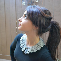 Silver Crochet Collar - Peter Pan Collar - Festive Lace Collar - Fashion Accessories - Holiday Fashion