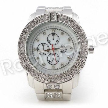 DCCKH7E Men Iced Out Bling 14K White Gold Plated Hip Hop Luxury Iced Out Watch F19GS