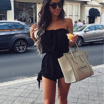 Strapless Front Bow-knot Romper