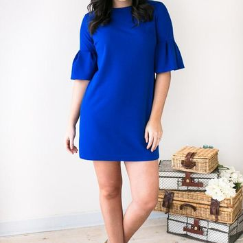 Visions Of You Ruffle Sleeve Dress- Royal Blue