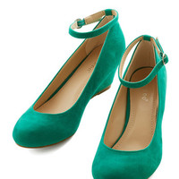 ModCloth Minimal Work Your Style Wedge in Emerald