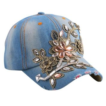 Floral Rhinestone Beauty Women Luxury baseball cap custom denim snapback hat casual casquette woman gorras