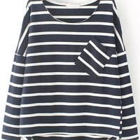 Black and White Stripe Drop Shoulder Blouse