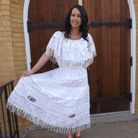 Vintage Mexican Wedding Dress White Embroidered Floral Summer Floral Fringe L XL