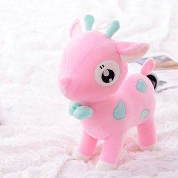 cute small stuff deer toy plush cartoon pink sika deer doll gift about 25cm