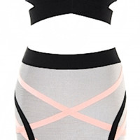 Kariana Two Piece Pink & Grey Bandage Dress