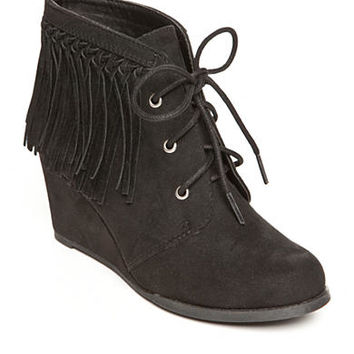 Sugar Mystic Fringe Wedge Bootie
