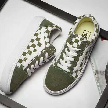 Vans Old  Skool  Casual White Stripes Dark Green White Grid Shoes Men And Women Cloth Shoes G-PSXY