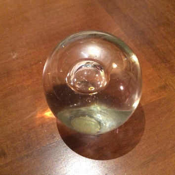 Hand Crafted Clear Glass Orb Paperweight with Bubble, Blown Glass Crystal Ball