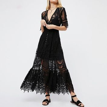 Vintage Floral Crochet Lace Dress Boho Flowy Midi Dresses Gown V-Neck Button Down Short Sleeve Women Dress Lining Dresses