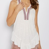 White Tribal Embroidered Neck T-Back Tank | Going Out Tank Tops | rue21