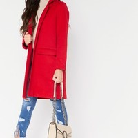 Carmel Red Collared Structured Duster Jacket