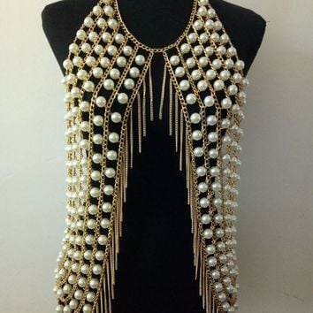 ac DCCKO2Q New Arrival B765 Women Fashion Gold Chains Simulated-pearls Body Chains Jewelry Layers White Simulated-pearls Cloth Body Chains