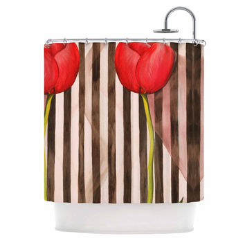 "S Seema Z ""Classic rose"" Red Stripes Shower Curtain"